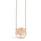 Sterling Silver, Rose Gold Pit Tree Necklace