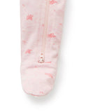Zip Growsuit - Pale Pink Leaf