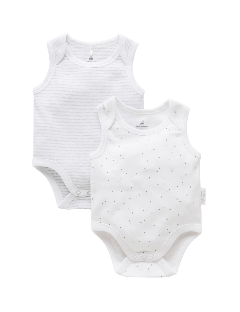 2 Pack Singlet Bodysuit - Pale Grey