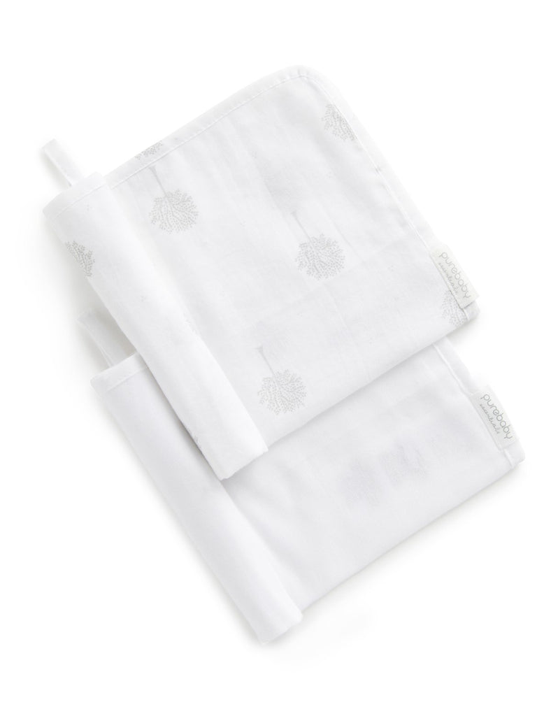 Muslin Facewasher 2 Pack - White/Grey Tree