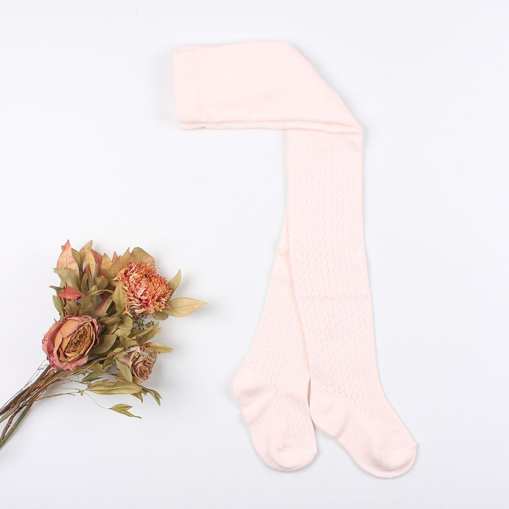 Pointelle Tights - Pale Pink