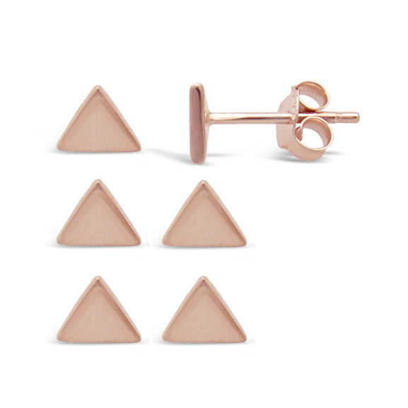 Rose Gold Pit Triangle Studs