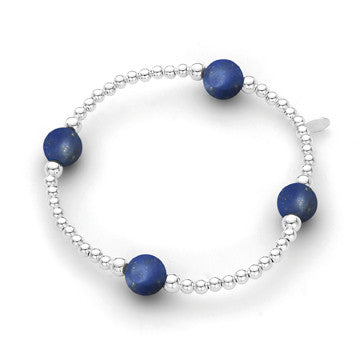 Sterling Silver Bracelet - Lapis 3mm