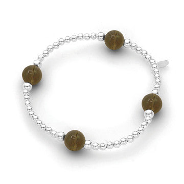 Sterling Silver Bracelet - Smokey Quartz 3mm