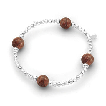Sterling Silver Bracelet - Sunstone 3mm