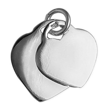 Sterling Silver Heart Tag Pendants 3cm