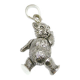 Sterling Silver Teddy Bear Pendant 2.5cm
