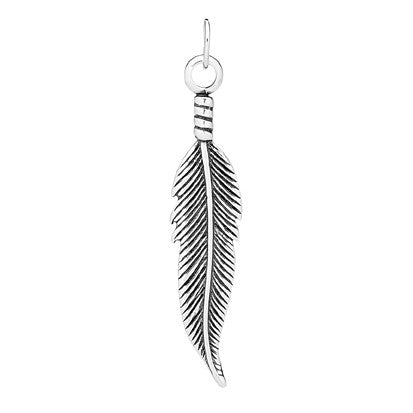 Sterling Silver Feather Pendant 3.2cm
