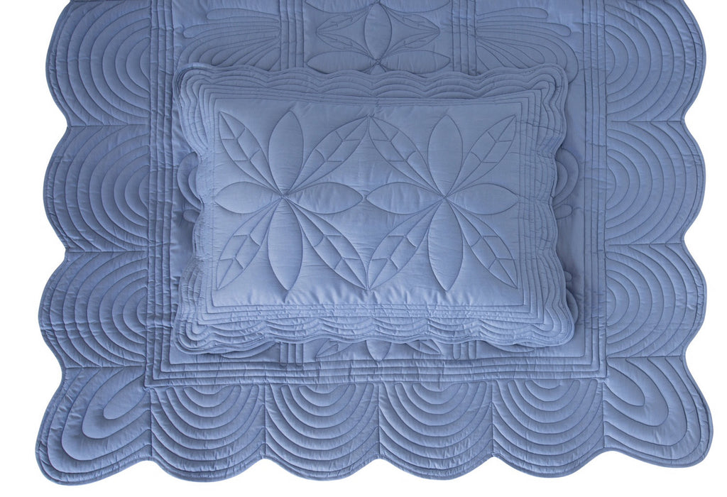 Single Bedspread Quilt & Pillow Set - Denim