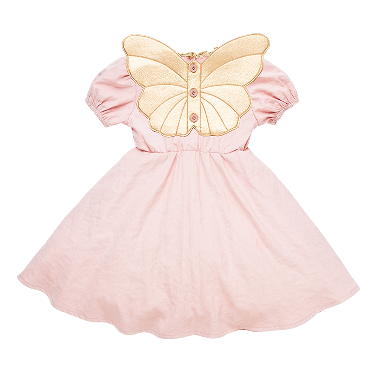 Pink Butterfly Wings Short Sleeve Dress