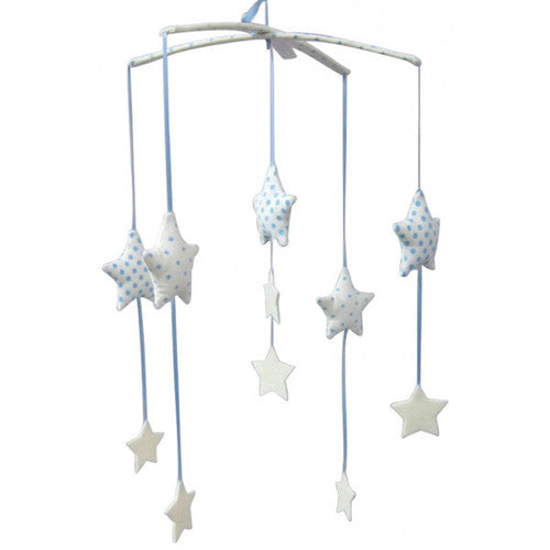 Falling Star Mobile - Blue & Ivory