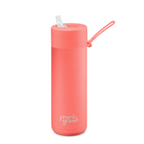 Ceramic Reusable Bottle 595ml - Coral Straw Lid
