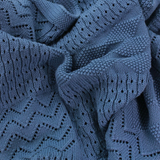 Jessie Cotton Knitted Pattern Baby Blanket - Blue