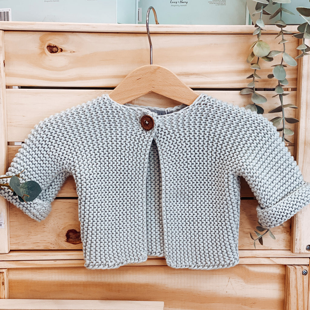 Elf Garter Stitch Baby Cardi - Duck Egg