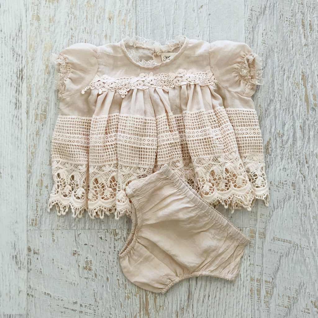 Vintage Lace Baby Dress - Blush