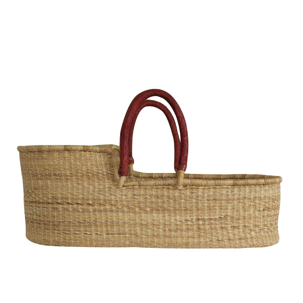 Baby Moses Basket - Natural With Tan Handles *Pre Order*