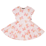 Short Sleeve Waisted Dress - Butterfly Kisses