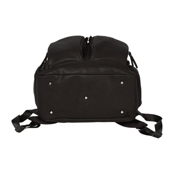 Faux Leather Nappy Backpack - Black