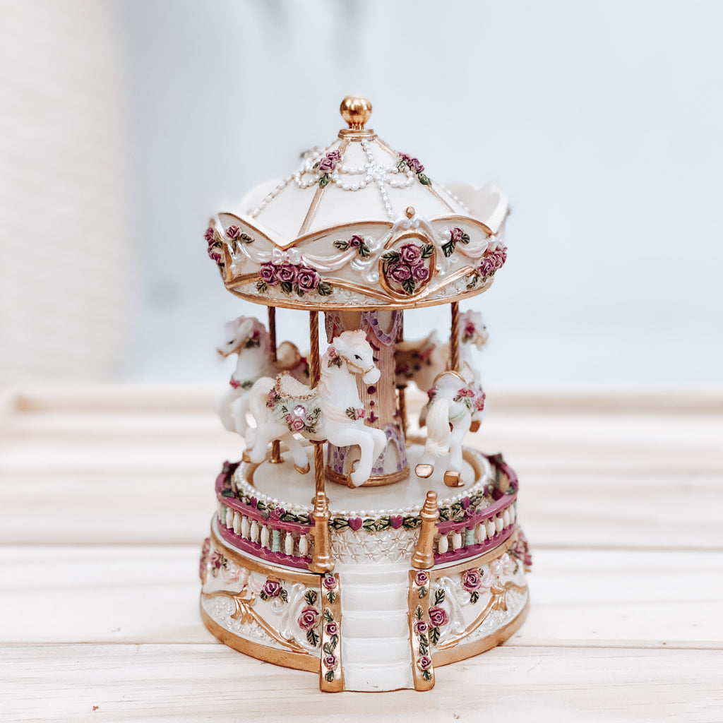 Horse Carousel With Stairs - White & Gold