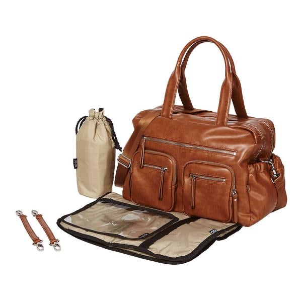 Faux Leather Carry All Nappy Bag - Tan