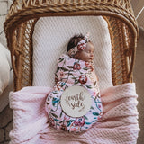 Baby Wrap/Blanket With Headband - Pansy Heart