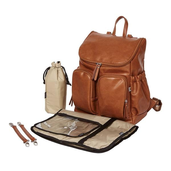 Faux Leather Nappy Backpack - Tan