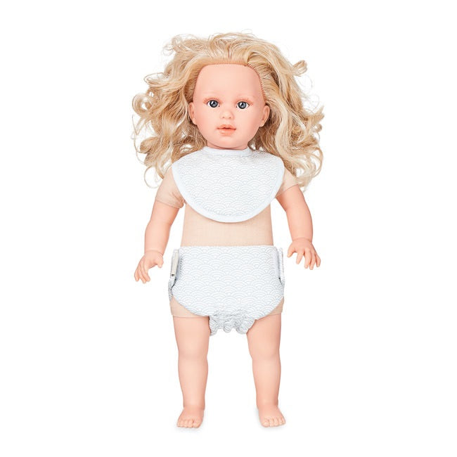 Dolls Bib & Nappy Set - Grey Wave