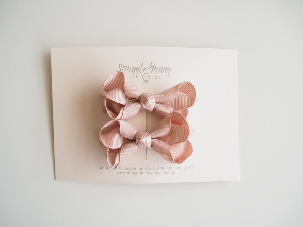 Bow Clip - Small Nude Piggy Tail Pair