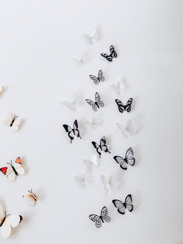 3D Butterfly Wall Decals - Black & White