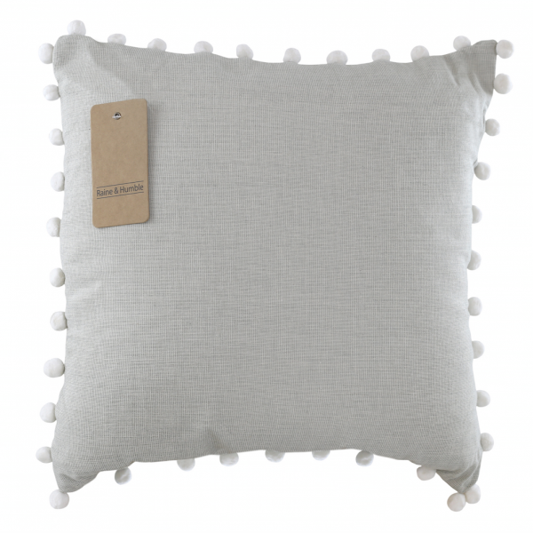 Chambray Pom Pom Cushion - Grey