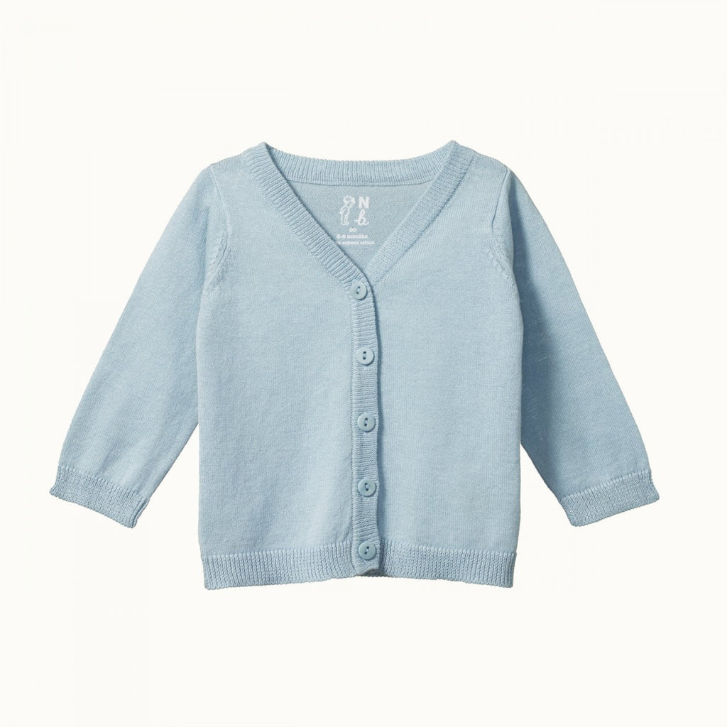 Light Cotton Knit Cardigan - Pond