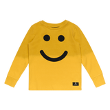 Be Happy Longsleeve T-Shirt - Pale Mustard Dip Dye