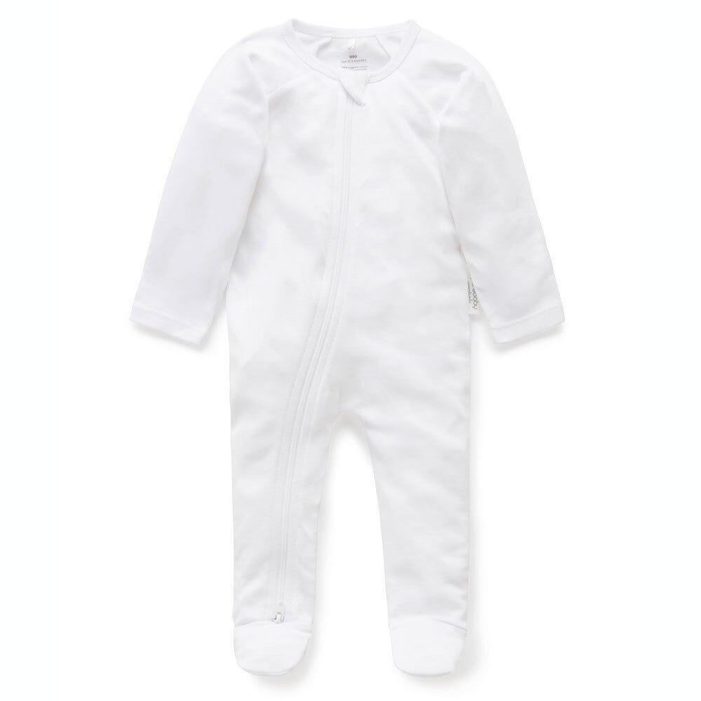 Zip Growsuit - White