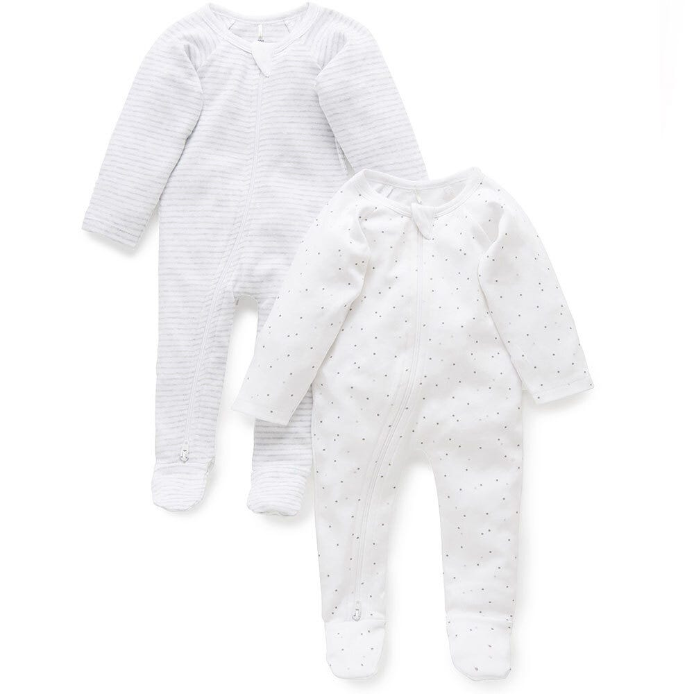 2 Pack Zip Growsuit - Pale Grey