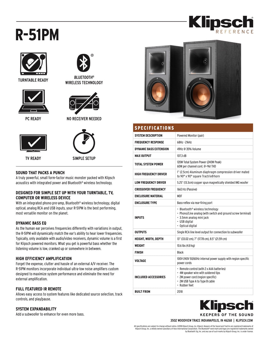 Klipsch Reference - R 51 PM EUA - Powered - Bluetooth (per paar)