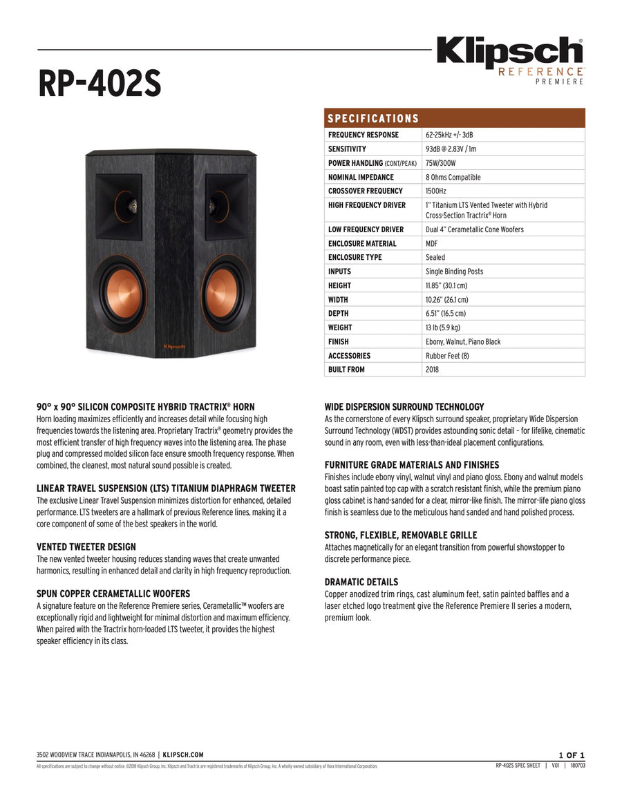 Klipsch Reference Premiere - RP 402S (Per Paar)