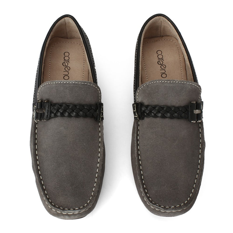 Careeno Cecilio Grey Suede Leather Loafers