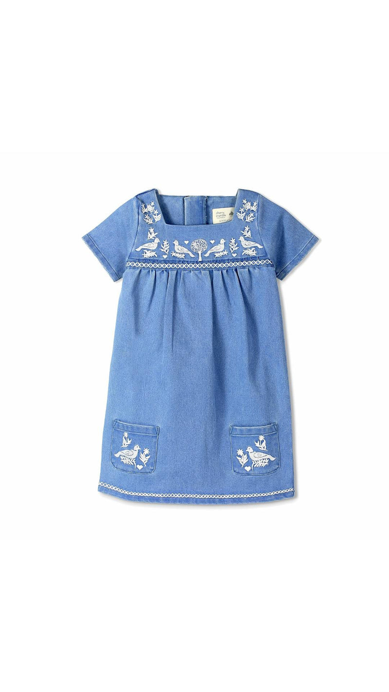 Cherry Crumble California Blue and White Embroidery Denim Dress