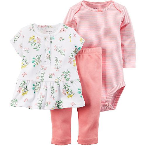 Girls 3-pc Little Flower Pants Set