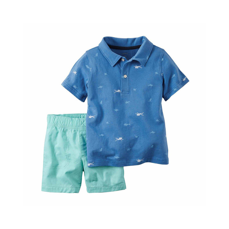 Blue Polo and Shorts Set