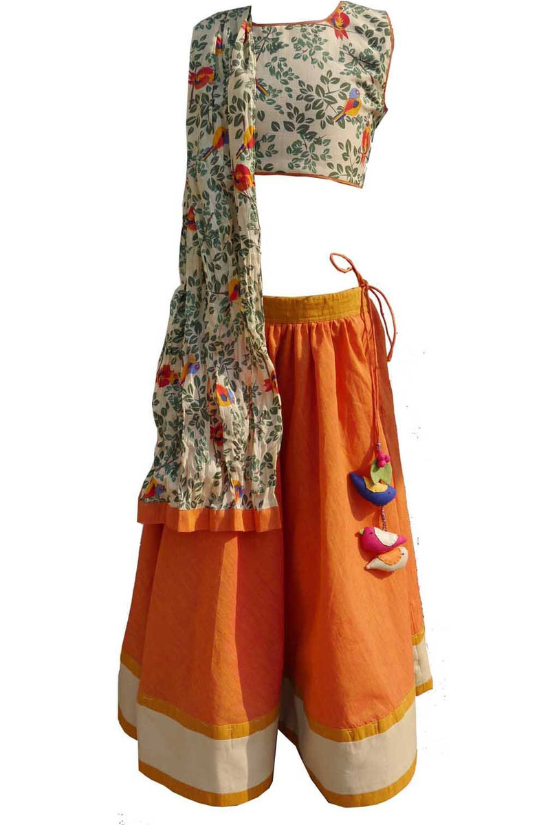 Orange Printed Choli Ghagra from Nee & Oink
