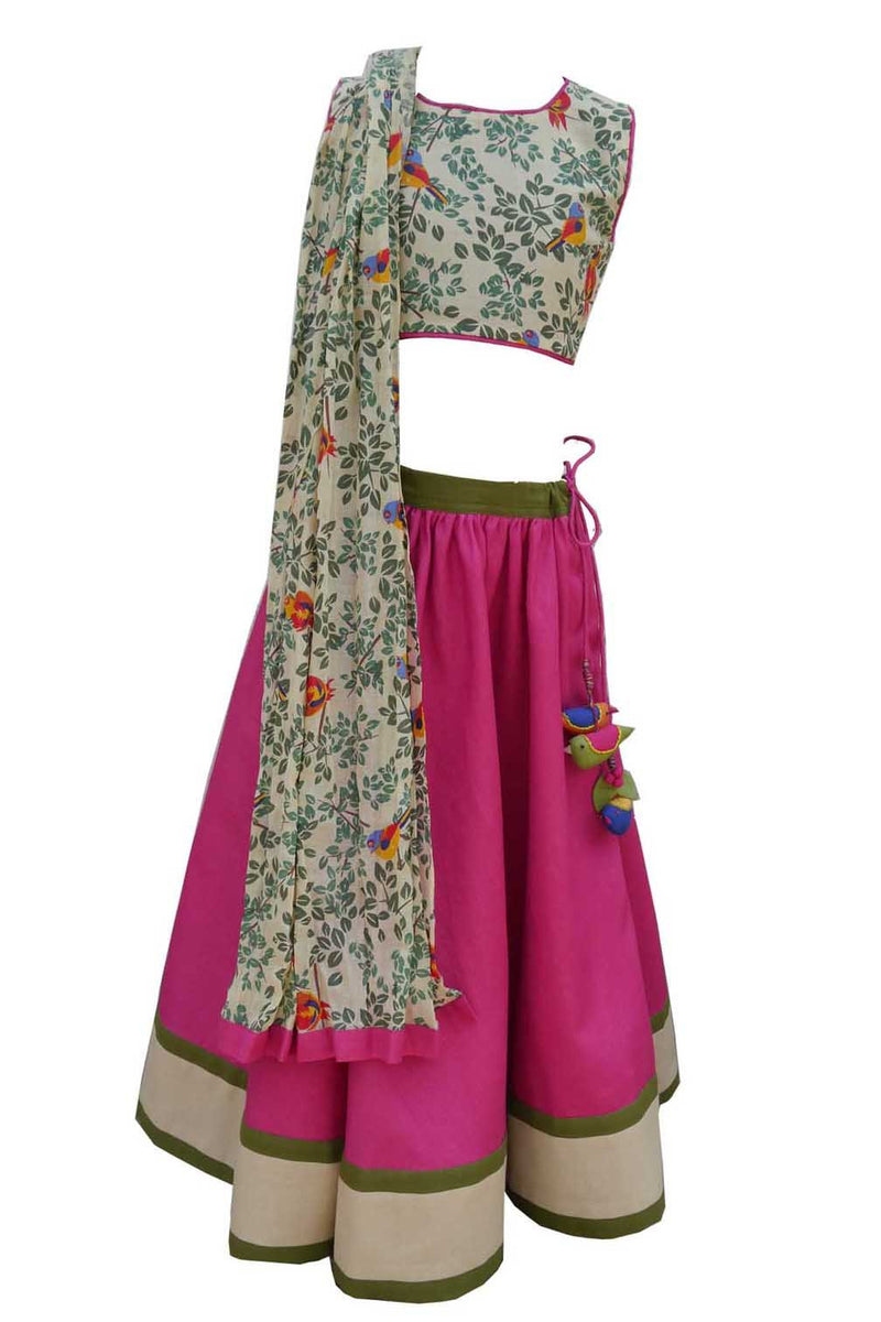 Pink Printed Choli Ghagra from Nee & Oink