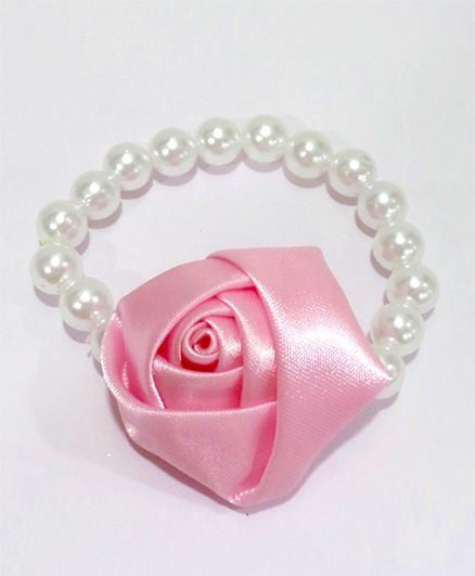 Aayera's Nest Pearl Wristband with Pink Satin Rose