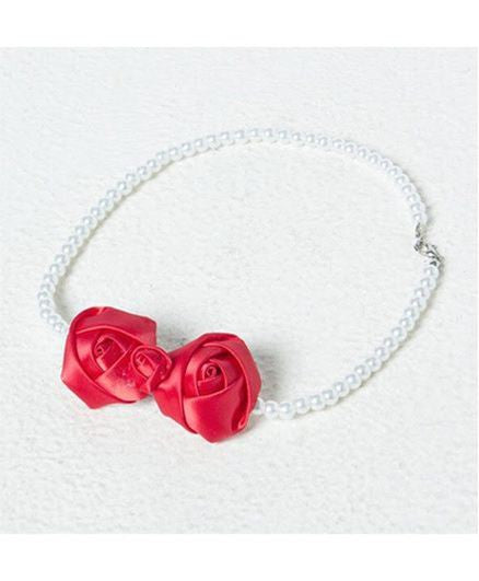 Aayera's Nest Pearl Necklace with Satin Red Rose