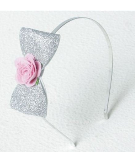 Aayera's Nest Princess Silver glitter Bow Hairband