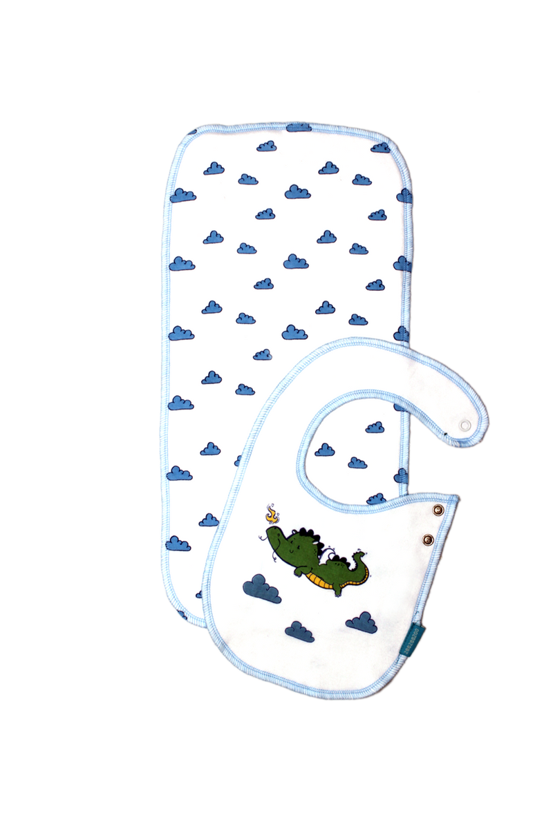 Zeezeezoo The Lucky Dragon Bib and Burp Cloth Set