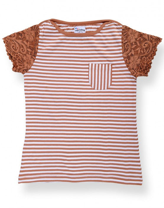 Ventra Girls Stripes with Lace Sleeves Top
