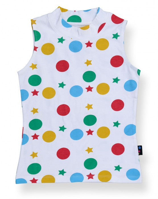 Ventra Girls Pretty Colorful Circles and Stars Printed Top