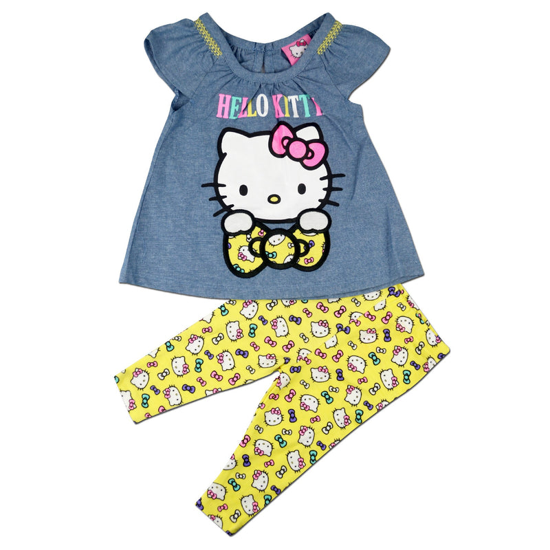Hello Kitty Baby Girl Blue top yellow printed pants 2 Piece set