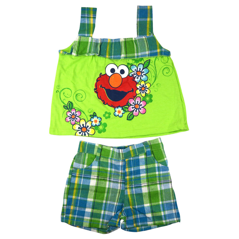 Sesame Street Baby Girl Green Flower top and checks Shorts